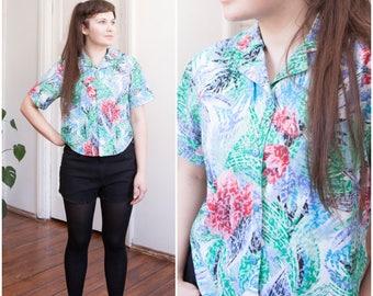 80s Hawaiian Shirt Womens Small Crop Top Medium Button Down Floral Top Jungle Print Aloha Shirt Short Sleeve Beach Top S M Cropped Blouse