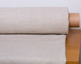 """LINEN FABRIC """"WAFFLE"""" medium weight Natural light linen color fabric  in a small check pattern"""