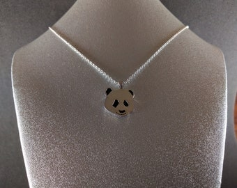 Happy Panda, Sterling Silver Panda Necklace, Handmade Silver Necklace, Silver Pendant, Gift for her