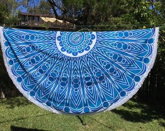 Mandala Roundies ~ BLUE FAN