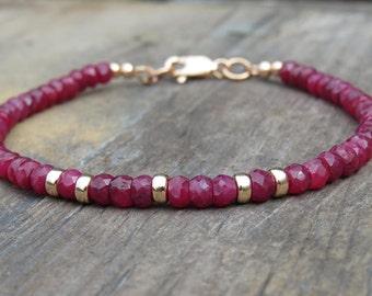 Faceted Ruby & Gold Bracelet