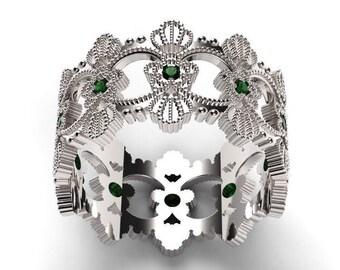 Emerald Ring, Emerald Wedding Band, Emerald Wedding Ring, Emerald Engagement Ring, Emerald Jewelry, Emerald Jewelry, Emerald Gold Ring,Green