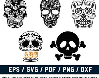 Skull svg File, Skull Cut File, Skull Monogram svg, Sugar  Skull svg, Day of the Dead, Skull Icon,Skull Png, Skull Logo,Skull Emblem,png
