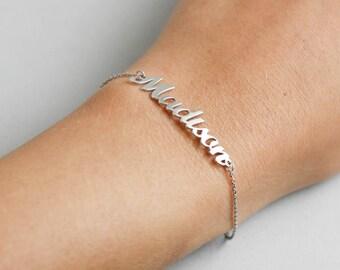 Silver Name Bracelet, Custom Name Bracelet, Personalized Bracelet, Gift for Girlfriend, Custom Birthday Gift, Custom Silver Bracelet, SB0181