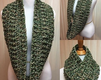 Olive Green Beige Crochet Scarf Infinity Loop Cowl Chunky, 100% Acrylic Handmade Crochet Winter, Women's Ladies Gifts for Her Accessories