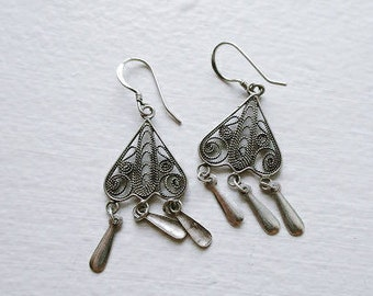 Vintage Sterling Silver 925 Filigree Heart Droplet Earrings