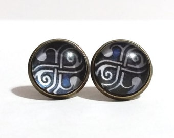 Dr Who Earrings, Bronze Stud