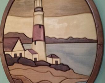 Intarsia lighthouse scene