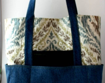 Upcycled denim market tote bag