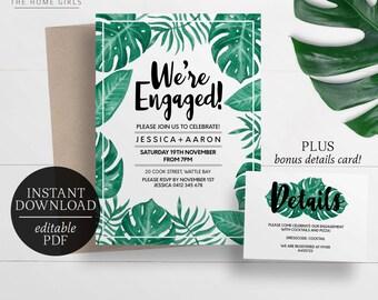 Printable Engagement Invitation | Palm Leaf | Editable Template | Tropical | Banana Leaf | Monstera Leaf | Instant Download | Engagement