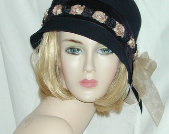 Custom black and tan vintage inspired flapper cloche Downton Abbey hand-draped hat