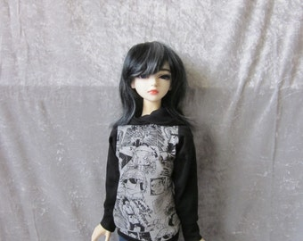 Jersey-sweatshirt with hood for BJD doll in SD, 1/3 size