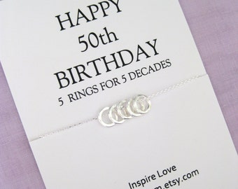 50th Birthday Gift. Sister Eternity Circle necklace. 5 sisters gift. Gift for Sister.  50th Birthday Gift for Wife.