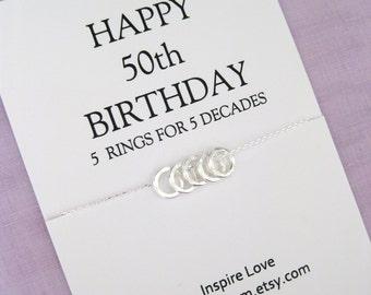 50th Birthday Gift. Sister Eternity Circle necklace 5 sisters gift Gift for Sister 50th Birthday Gift for Best Friend. Birthday Gift for Her