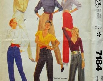 Uncut 1980s McCall's Vintage Sewing Pattern 7184, Size 16; Misses' Pants