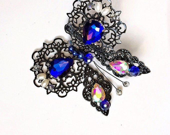 Black Royal Blue metal Filigree Butterfly women Hair Clip Jewelry Wedding Bridesmaid gift Barrette fun unique woodland hair slide two tone