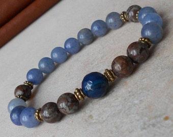 Aventurine bracelet Blue bracelet womens Beaded bracelet women Blue stone bracelet Aventurine jewelry Blue gemstone bracelet Mala bracelet