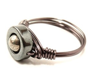 Pyrite and Hematite Ring