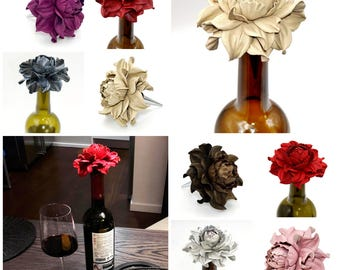 Unique Wine Lovers Gifts! Custom Wine Bottle Stoppers - Leather Rose Wine Decor|Wine Wedding Favors|Metal Wine Corks|Wedding Wine Stoppers