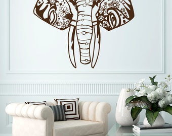 ELEPHANT Wall Decals Indian Vinyl Sitckers Bedroom Sticker Bohemian Bedding Boho Decor for Home T30