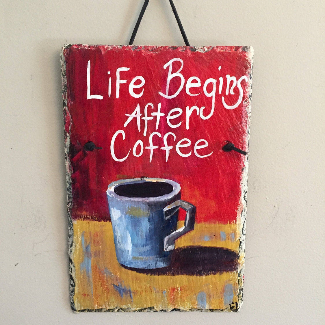 coffee painted slate wall hanging, wall hanging, kitchen decor, 8