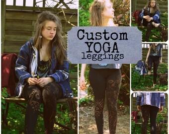 Bohemian Hand Painted cotton yoga pants / Leggings