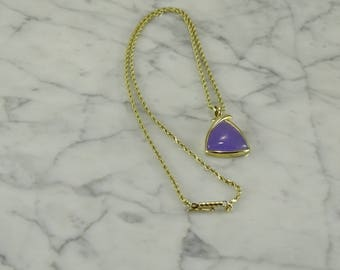 "Lavender Jade 14K Gold Pendant on a 17"" 14K Gold Chain"