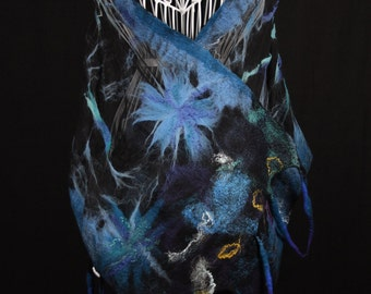 Nuno Felted Scarf, Black Summer Wrap, Blue Felted Shawl, Large Summer Scarf, Unique Handmade Scarf, Felt Art, Silk Scarf