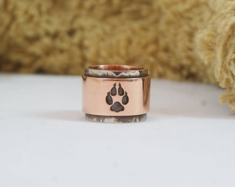 Fox Fox paw  Fox ring Fox trace Copper ring Unisex ring Unique ring Bohemian ring Copper jewelry Gihts for him  Gihts for her Mens ring