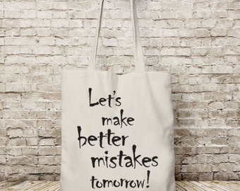 Tote bag canvas, Let's make better, tote bag cotton, Shopping bag, Project Bag, Motivational quote, printed bags, Gift for her, beach tote