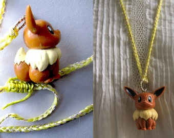 """Necklace tenderness with """"Pikachu-to-my-neck"""", such a cabochon pendant on a braided thin yellow lemon"""