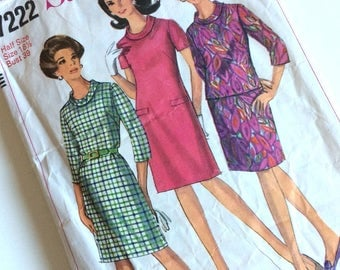 1960s Jackie Kennedy Style Dress & Two Piece Simplicity Sewing Pattern No. 7222 Modern Size 14/16