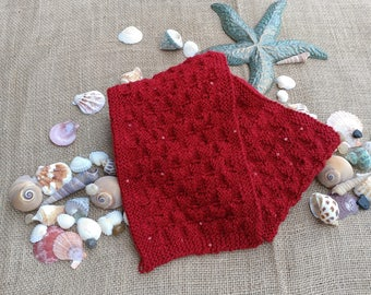 Handmade Hand Knit Reddest Red Sequined Scarf Unique Item Ready to Ship