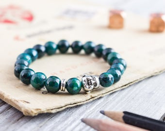 8mm - Greenish chrysocolla beaded smiling Buddha stretchy bracelet, custom made yoga bracelet, mens bracelet, womens bracelet