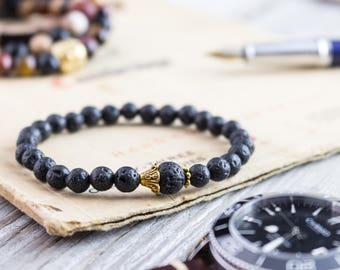 6mm - Black lava stone beaded stretchy bracelet, made to order yoga bracelet, mens bracelet, womens lava bracelet