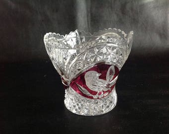 Cut Glass / Crystal Bowl / Vase / Dish - Cranberry / Ruby Red and Clear Glass - Bird Motif