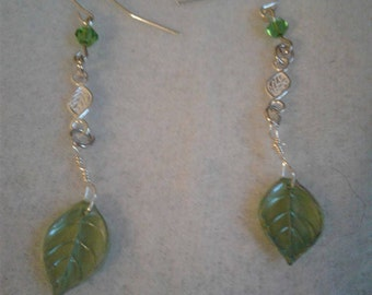 Green Leaf and Silver Dangling Earrings