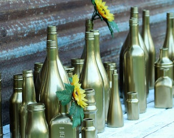 9, Vases, Gold Vases, Bottle Vase, Flower Vases, Wedding Vases, Wine Bottle vases, Gold Wine Bottles, Bud Vases, Rustic Wedding