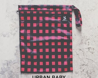 Wet Bag, Diaper Storage Bag, Travel Bag, Swim Bag, Waterproof Bag, Nappy Bag, Cloth Diaper Bag, TPU, Modern, Diaper Cover, Plaid, Red, Black