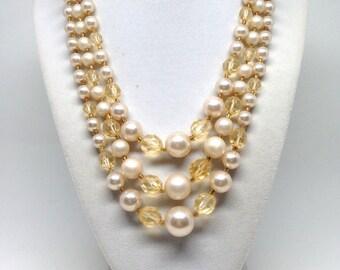 Fascinating Cream Faux Pearl Triple Strand Vintage Estate Necklace