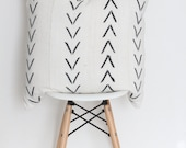 """18"""" x 18"""" White Arrows African Mudcloth Pillow Case"""