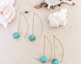 Turquoise acrylic marble ball threaded earrings /Gift / Birthday gift