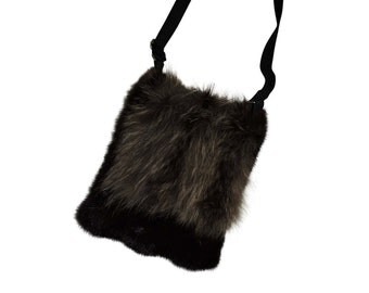 In real recycled fur handbag
