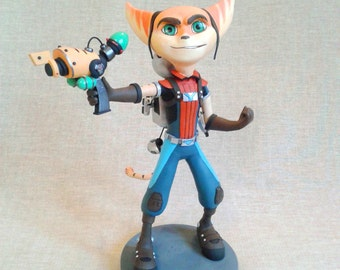 Ratchet & Clank figurine Ratchet and Clank cartoon Ratchet figure Ratchet figurine Clank figurine Red fox