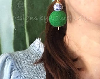 Chinoiserie Pom Pom Earrings | GREEN, blue and white, porcelain, Chinese, delft, gold, beaded, dangle, pompom, emerald, bonbon