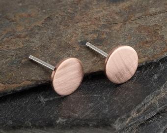 Matte Rose Gold Filled Minimalist Earrings,Flat Earrings,Disc Earrings,Dot Earrings,Dainty Earrings,Stud Earrings,Gold Earrings,Handmade