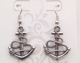 Silver Anchor Earrings, Small Earrings, Fishhook Earrings, Dangle Earrings