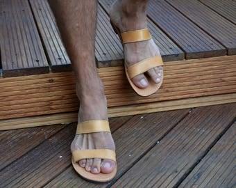 Men's leather sandals, Men's Greek leather sandals, Men's leather slides, Men's Ancient Greek sandals, Men's roman leather sandals 'Alexis'