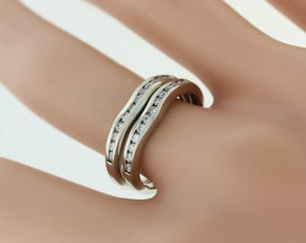 Curves Diamond Wedding Band- 14k White Gold