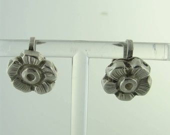 Antique Flower Stud Earrings- Sterling Silver